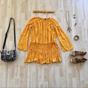 Zara beaded pleated boho yellow drop waist dress